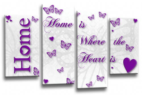Home Quote Wall Art Picture White Purple Love Split Print